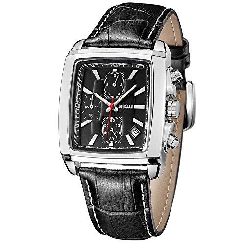 Armbanduhr Herren Uhren Rechteckig Schwarz Lederarmband Wasserdicht - Analog Chronographen Männer Uhren - Sport Silber Edelstahl Gehäuse mit Datum