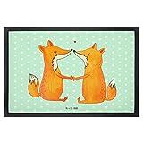 Mr. & Mrs. Panda 40 x 60 Fußmatte Füchse Liebe - 100% handmade in Norddeutschland - Türvorleger, Fox, Freundin, Gummi Velour Stoff, Liebesbeweis, Ehefrau, Füchse, Fuchs, Ehemann, Paar, Fussabtreter, Liebe