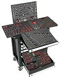 DeTec. Werkstattwagen Royal Edition schwarz - 7 Schubladen / 5 gefüllt mit Werkzeug