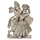 #4: Little India Antique White Metal Lord Radha Krishna Idol  (15.24 cm x 10.16 cm,HCF311)