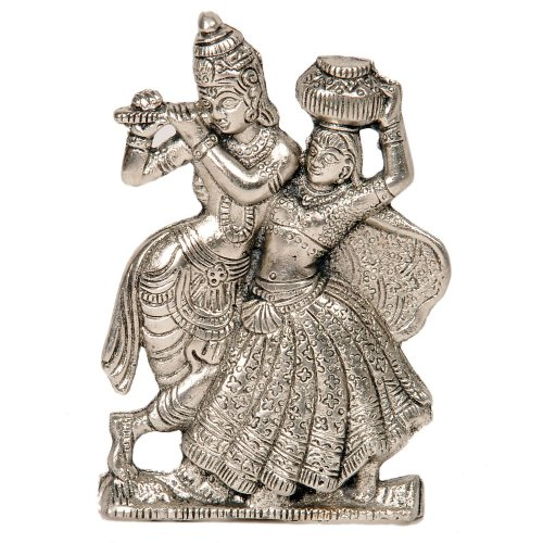 Little India Antique White Metal Lord Radha Krishna Idol  (15.24 cm x 10.16 cm,HCF311)