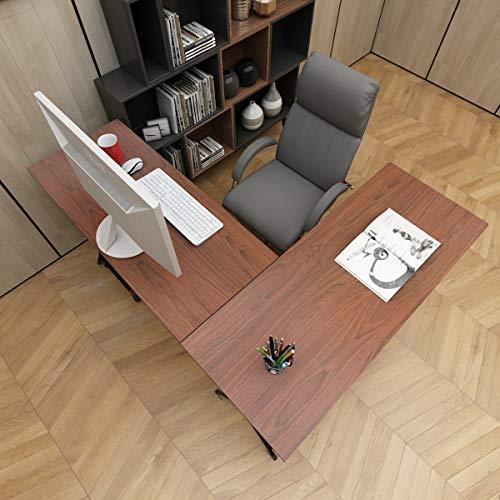DlandHome L Mesa Escritorio de la computadora 120cm+110cm, Ordenador Portátil para PC Estación de Trabajo de Estudio Mesa de Esquina con CPU Stand, Teak