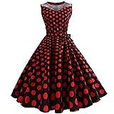 50er Vintage Kleider, Loveso ❤️ Damen Vintage Polka Dots A-Linie Ohne Arm Rockabilly Kleid Cocktailkleider Swing Kleider 1950er Retro Sommerkleid (Rot(Mit Mesh)❤️, XL)