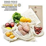 achilles 6er Set Obst- und Gemüsebeutel,100% Baumwolle,pestizidfrei,Ökotex Standard 100,LFGB geprüft, SGS Zertifikat Nr. TC6176, mit Gewichtsangabe Obst-Beutel Gemüse-Netz
