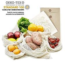 Diese praktischen wiederverwendbaren Obst und Gemüsebeutel in drei verschiedenen Größen werden in einer ökologisch wertvollen und recourcen schonenden Verpackung geliefert. Durch die doppelte Naht können auch schwere Einkäufe transportiert werden. Au...