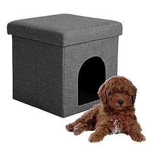 EUGAD 0002DZ Faltbarer Sitzhocker Sitzbank Hundehöhle/Katzenhöhle, Stabiler Sitzwürfel mit Stauraum, bis 38L, Polsterhocker bis 150KG belastbar belastbar, Dunkelgrau