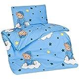 Aminata Kids Kinderbettwäsche 100x135 cm 40x60 cm Teddy-Bär Bärchen Jungen Baumwolle Schlafbär auf Wolke