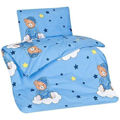 Aminata Kids Kinder-Bettwäsche 100-x-135 cm Teddy-Bär Bärchen Baby-Bettwäsche 100-% Baumwolle Renforce hell-blau Junge-n Schlafbär auf Wolke Sterne Star