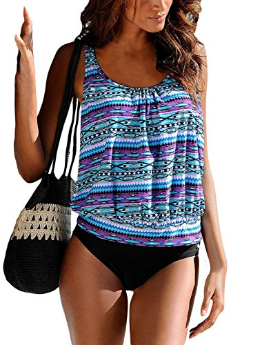 0e67c08fd15 Aleumdr Womens Fashion Gradient Print Tankini Sets with Solid Bottom Plus  Size Swimming Costume Sporty Swimsuits