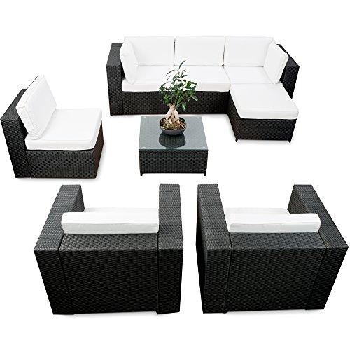 24tlg. XXL Lounge Eck Set Polyrattan für Balkon und Terrasse erweiterbar - schwarz – Rattan...