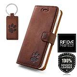 SURAZO RFID - Pfote - Premium Vintage Ledertasche Schutzhülle Wallet Case aus Echtesleder Nubukleder Farbe Nussbraun für Huawei P30 Pro