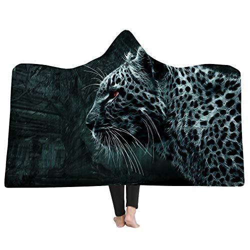 3D Animal Print Super Weiche, Flauschige Decke,Kinder Erwachsene Mit Kapuze Decke,Reise Camping Decke Schlafsofa Werfen (Leopard, 150 * 200cm) -