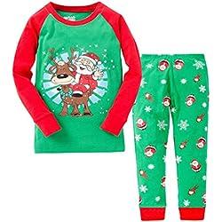 YuanDiann Garçon Fille Pyjama Dessin Animé Impression Vêtements De Nuit 2 Pièces Ensemble Enfant Manche Longue Doux Tops Shirts & Pantalon Habit Noel Tenue 2-7 Ans Père Noël Et Cerf 5 Ans
