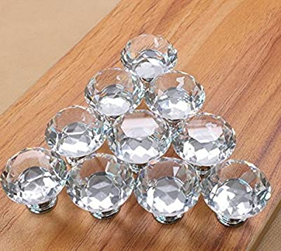 5pcs 30mm Glass Clear Cabinet Knob Drawer Pull Handle Kitchen Door Wardrobe Hardware Used for Cabinet, Drawer, Chest, Bin, Dresser, Cupboard, Etc - low-cost UK light shop.