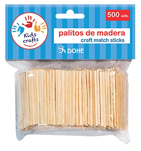 Dohe- 18106-Pack de 500 palitos de Madera, Color Natural (18106)