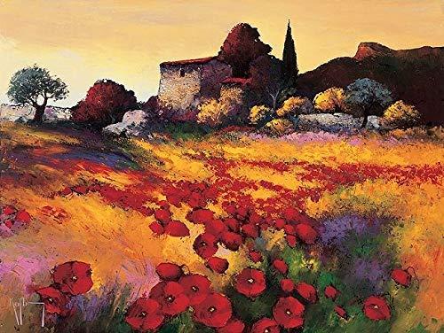 Rahmen-Kunst Keilrahmen-Bild - Roger Keiflin: Soir D'Ete Leinwandbild Felder Bäume Haus Hütte Provence Landschaft