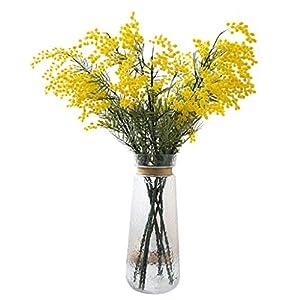 Flores Decorativas Artificiales Acacia Arreglo casero de Flores Falsas con florero