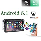 8' Android 7.1 2 Din Quad Core Car Dvd Player Gps Stereo Navigation Fit for Volkswagen VW Skoda POLO PASSAT B6 CC TIGUAN GOLF 5 Fabia HD:1024*600 With Canbus & Cam