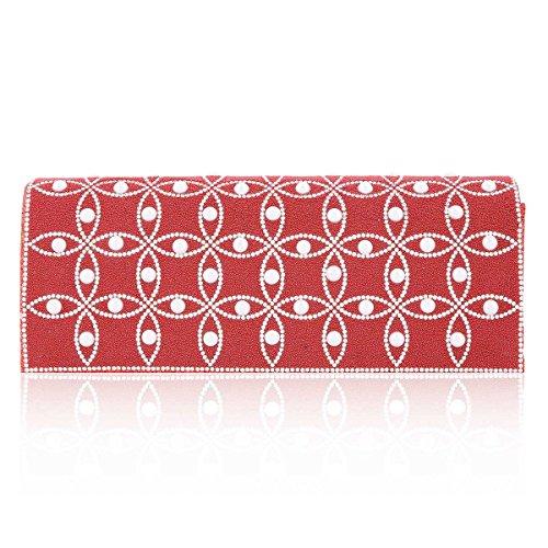 Damara® Damen Glänzende Crystal Handmade Perlen Abendtaschen Rot