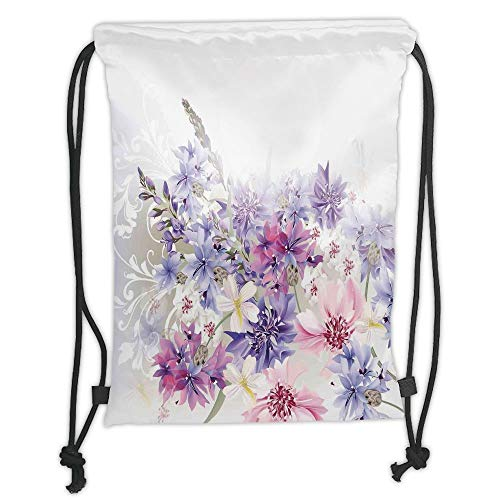 (Trsdshorts Lavender,Pastel Cornflowers Bridal Classic Design Gentle Floral Wedding Decor Print,Violet Pink White Soft Satin,5 Liter Capacity,Adjustable String Closur)