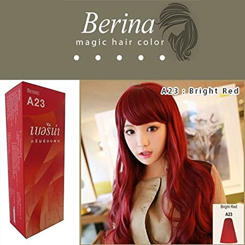Berina Hair Color A23 Cream Bright Red Permanent Hair Dye Super Color by Berina