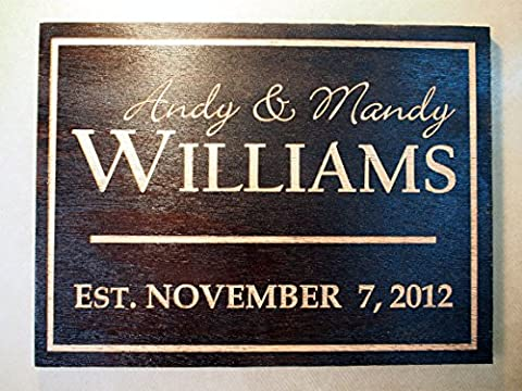 Personalized Engraved Family Name Sign| Wedding Sign| Established Plaque Carved and Painted. Size: 31x23 cm