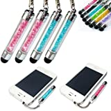 2xNo1accessory new blue + pink crystal shaft stylus pen for Motorola Moto G Moto X &iPhone 5S/5C Apple iPad air