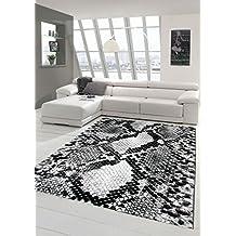 Alfombra diseñador Alfombra moderna sala de estar alfombra patrón de serpiente Negro Gris Blanco Größe 160x230 cm