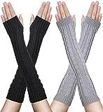 2paires Mitaines Gants Femme Hiver sans Doigts en Coton Tricotés Chaud Simples Elegants - gris et noir