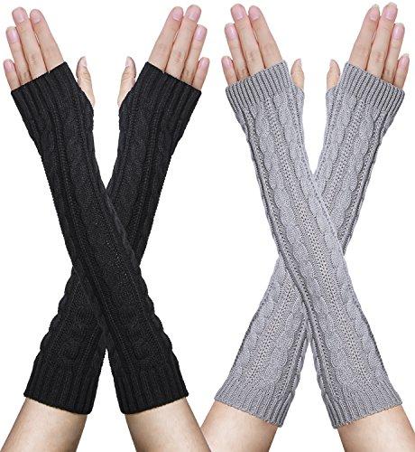 Damen Winter Handschuhe, Wärmer Strick Langer Trendige Quilted Thread Gestrickte Fingerlose Armstulpen Fäustlinge MEHRWEG