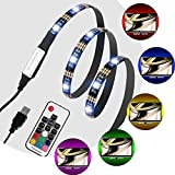 Tiras LED USB de Luz TV, Laluztop 90cm SMD 5050 RGB 7 Color IP65 Impermeable USB para Decoración del Hogar