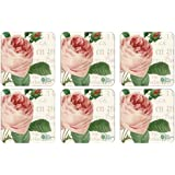 RHS Roses 10.5 x 10.5 cm MDF with Cork Back RHS Roses Coasters, Set of 6, Multi-Colour
