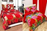 Combo Grace Cotton King Size Double Bedsheet, Combo Set of 2 Bedsheet and 4 Pillow covers From Fashion Hub