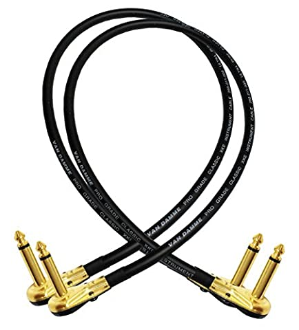 2 Units - Van Damme Pro Grade Classic XKE - 2 Foot (60 cm) – Premium, Ultra-Flexible Multi -Shielded Guitar Bass Effects Instrument, Patch Cable - with Premium Gold Plated ¼ inch (6.35mm) Low-Profile, Right Angled Pancake type TS