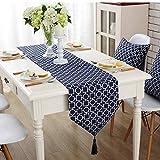 Chemins de table, drapeau de table en tissu méditerranéen bleu drapeau de table jacquard tridimensionnel -32 * 160cm