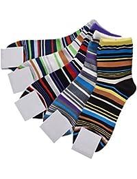 5 Paar Unisex Sneaker Socken Streifen Sportsocken für Damen Herren Baumwolle Atmungsaktiv in Verschiedenen Farben