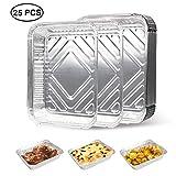 EXTSUD Vassoi per BBQ Griglia in Alluminio Set da 25 Pz Contenitori Porta Alimentari Anti-Perdita in Foglio Stagno Scatola Accessori Carta Stagnola per Griglia Barbecue Cottura Forno
