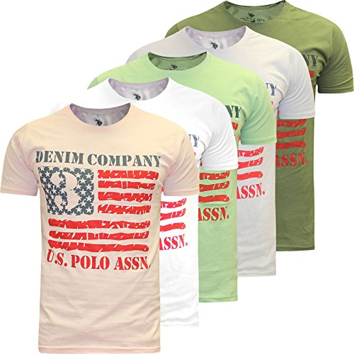 U.S.POLO ASSN. Mens US Polo Association Assn Short Sleeve Printed T Shirt Denim Company American