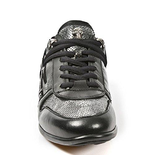 NEW ROCK Veste hybride en cuir noir Chaussures M. hy001-r6 Noir - noir