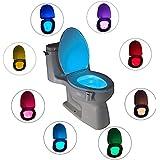 InGoo Cuarto de baño de la noche de luz automática de movimiento activado Sensor WC lámpara LED Baterías de funcionamiento para inodoro Bowl con 8 opciones de colores (Blanco)