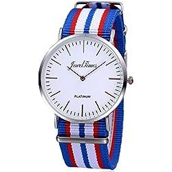 JewelTimes Unisex Reloj de pulsera Minimal OTAN rayas tela banda plata 3008Azul
