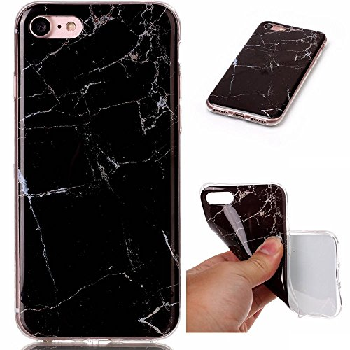Apple iPhone 7 +/8 + Plus Marmor Design Geoden Rock Mineral Muster Colorful Vein Drop Proof Glatter Bezug Flexible Thin [TPU Gel Fall] Naked Schutz Stoßfeste Schutzhülle, Schwarz (5 Schwarz Verizon Iphone 8gb)
