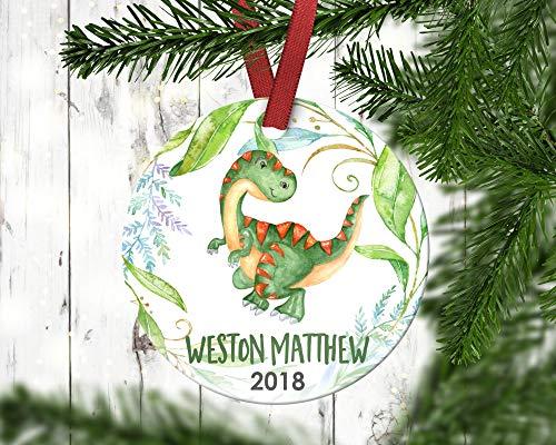 Dozili Kinder-Weihnachtsdekoration Junge Dinosaurier Trex Weihnachten Ornament Personalisierte Weihnachten Ornament Baby 's First Christmas
