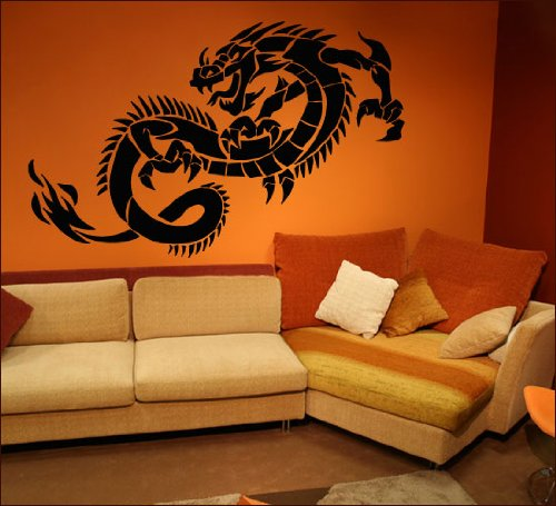 De pared pegatinas de pared de dragón #32 A 200 cm x 125 cm de tamaño y colour seleccionable, Schwarz (RAL9005), 120cm x 75cm