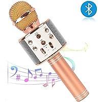 Bluetooth Karaoke Mikrofon,tragbares drahtloses Mikrofon,4in1 Lautsprecher für die Aufnahme von Sprach und Gesang,für Party,Podcast,Familie. kompatibel mit Android/IOS, PC oder Alle Smartphone (Roségold)