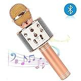 Bluetooth Karaoke Mikrofon,tragbares drahtloses Mikrofon,4in1 Lautsprecher für die Aufnahme von Sprach und Gesang,Kompatibel mit Android/IOS, PC oder Alle Smartphone (Roségold)