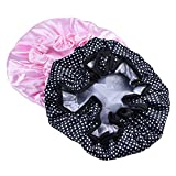 Mudder Women Waterproof Shower Hat Double Layer Bath Cap, Black and Pink, 2 Pack