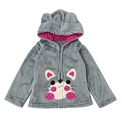 vêtements à capuche Solike Bébé Enfant Enfants Garçons Filles Cartoon animal manteau à capuchon Cape Hauts vêtements chauds (1-5 ans) (120/4 ans, Gris)