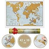 Mappa stampata in edizione da viaggio Scratch the World® - regalo da viaggio A3 dimensioni 42,0 (l) x 29,7 (h) cm