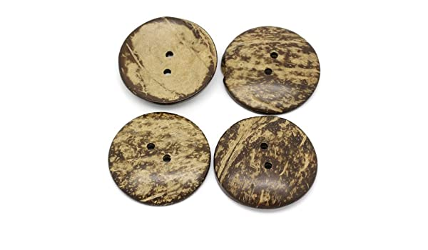 Decorazioni per la casa e Altri progetti artistici. Ideale per Cucito 5 cm La Scatola Bead And Button Box 4 Bottoni Extra Large in Guscio di Cocco Naturale